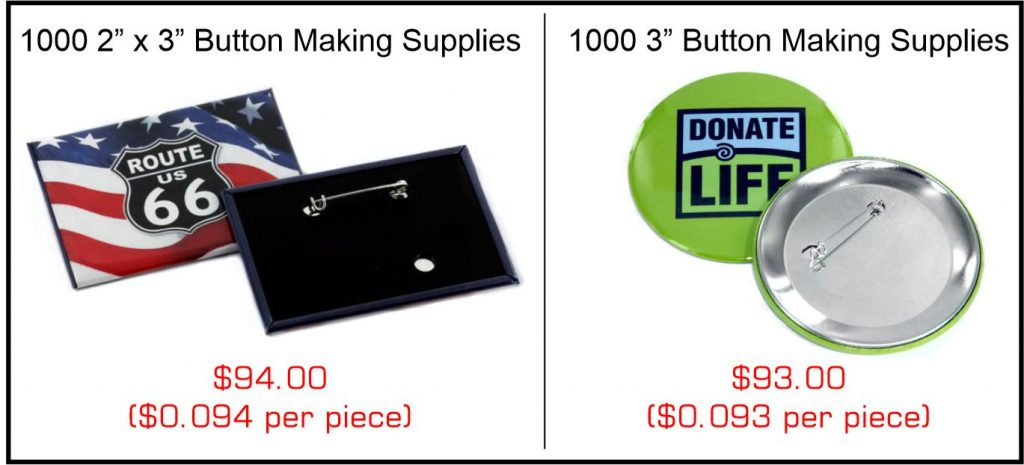 Rectangle vs Round button making supplies and comparative pricing