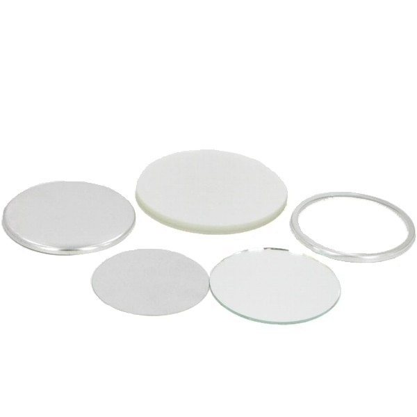 "2-1/4"" Round Mirror Button Complete Set"